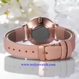 Señora Quartz Wist Watch, servicio del OEM de los relojes de señora (WY-17024) de cuero de la correa