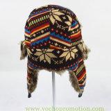 Chapeau russe de trappeur d'Ushanka de chapeau chaud de l'hiver tricoté par jacquard d'acrylique de 100%