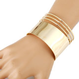 La moda de metal pulido de Oro de la placa simple pulsera para mujer y hombres