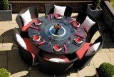 屋外の家具(TG-015)のための庭のPEの藤の柳細工のダイニングテーブルそして椅子
