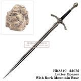 Senhor das espadas do cavaleiro do abridor de letra da espada de Gandalf do anel 22cm