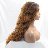 Blonde lose wellenförmige Vorderseite-synthetische Haar-Perücke der Spitze-2017