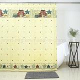 100 % полиэфирная ткань душ шторки с пользовательскими дизайн для ванной комнаты