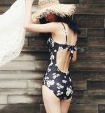 Maillot de bain monopièce de vêtements de bain d'impression de poire avec le tissu de couverture d'usure de femmes