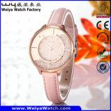 Geschäfts-kundenspezifische Namensuhr-Leder-Uhr-Legierungs-Uhr (Wy-108A)