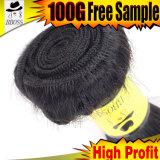 Bon choix dans le cheveu brésilien de Remy de noir de gicleur
