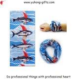 よい空気透磁率のスカーフの継ぎ目が無い管状のHeadwearの魚のロゴのバンダナは接続する(YH-HS191)