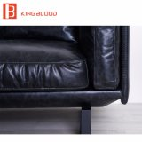 Muebles de cuero genuinos del sofá de la sala de estar de los diseños determinados del sofá de Italia Nappa del negro americano del estilo