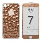 Cassa del telefono di alta qualità 360 con la protezione dello schermo di vetro Tempered del diamante 4D di scintillio per il iPhone 6/6plus/7/7plus