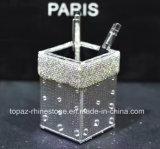Rectángulo cristalino del tejido del Rhinestone del tubo de almacenaje del Rhinestone del sostenedor de la pluma de la plata de la etiqueta engomada (TB-plata)