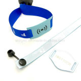 Bracelet de bande de satin d'IDENTIFICATION RF de la coutume NFC NTAG213 d'événements