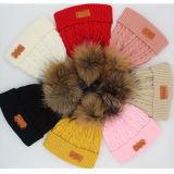 Оптовая торговля трикотажные чистого кашемира Raccoon мех Pompom Red Hat