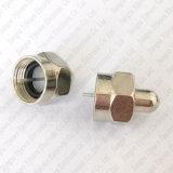 Tipo adaptador masculino de 75 ohmios F del divisor del coaxil de la cubierta del casquillo del conector del adaptador