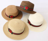 Kundenspezifischer Firmenzeichen-Rosen-Frauen-Sommer-fördernder Strohhut mit Farbband