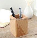 Support en bois solide de crayon de support de crayon lecteur de logo fait sur commande
