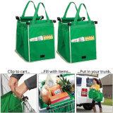 Mehrfachverwendbarer großer Laufkatze Klipp-zu-Karre Lebensmittelgeschäft-Einkaufen-Beutel-beweglicher grüner Tuch-Beutelfaltbare Tote-Handtaschen