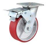 Schwenker PU auf Roheisen-Fußrolle mit der Doppelbremse (rot)