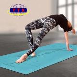 Estera de cuero de la yoga de la PU con la línea de guía de la posición