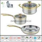Titanium Gouden Cookware in drievoud Al Beklede Reeks van Cookware van het Staal