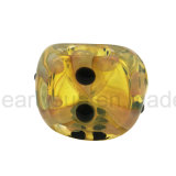 Tubulação de vidro amarela da colher do fumo de cigarro da listra (ES-HP-397)
