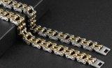 Motorrad-Armband für Mann-miserabeles schwarzes Stahlgoldfarben-Link-Ketten-Radfahrer-Fahrrad-kühle Mann-Armband-Armband-Schmucksachen