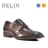 Logotipo personalizado el doble de monje hombres Zapatos de Vestir con la parte superior de cuero