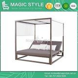 커튼 현대 Kd 침대 겸용 소파를 가진 직물 방석 정원 Sunbed 호텔 두 배 침대를 가진 옥외 알루미늄 침대 겸용 소파