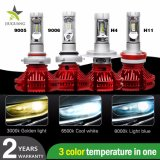최고 Bright X3 Car Lights Lamp H7 H11 3000K 6500K 8000K 3 Color Temperature 9004 9005 9006 9007 H13 H4 Auto Bulb LED Car Headlight