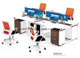 Poste de travail linéaire de bureau de bureau de bureau de la partition 4 de diviseur en bois de Seaters