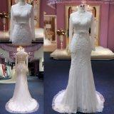 Vestido de casamento nupcial 2018 do laço longo elevado feito sob encomenda das luvas da garganta