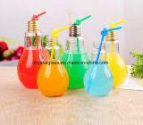 Heiße Verkaufs-Lampen-Birnen-Form-Glasflasche mit Schutzkappe und Stroh