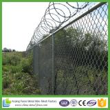 Galvanisé Secure Boundary Chain Link Fence Top Barbed Wire