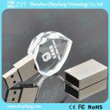 Forma de coração USB com forma de coração de cristal com logotipo 3D (ZYF1523)