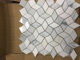 水晶白およびBiancoカラーラの白い3D波デザイン大理石のモザイク・タイル