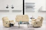 Conjunto de sofá de reclinação traseira com couro italiano