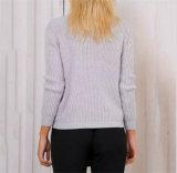 Le grandi V donne del collo di nuovo stile europeo mettono il pullover in cortocircuito lungo del manicotto del maglione