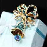 Campana de Navidad de piedra de zafiro Brooch/ con broche de Estrás Broche cristal de la moda de joyería Bisutería encanto broches joyas (PBR-005).