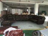 Sofá do Recliner do couro da forma de U para a mobília árabe grande da HOME da sala de visitas (G17319)