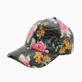 Gorra de cuero de imitación con flor patrón (GKA01-F00048)