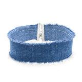 新しいデザイン簡単な方法宝石類の青いハンドメイドのジーンのチョークバルブのネックレス