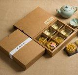 Kundenspezifischer und hoher Grad-gefalteter Braunes Packpapier Mooncake Großhandelskasten, 6 Satz des Mooncake Kastens