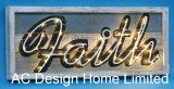 Vintage Antique Rectangular Coils Design Wall Decor Wooden Shadow Box W/LED Light
