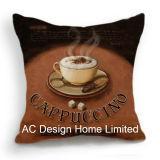 Квадратные кофе латте Дизайн ткань подушка с заполнением