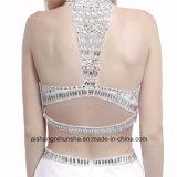 Платье выпускного вечера партии вечера Mermaid женщин двухкусочное отбортовывая кристаллический