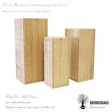 Rectángulo de regalo de madera de lujo del vino del color natural del precio de fábrica de Hongdao con el _E de encargo de la insignia