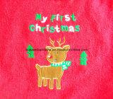 Kundenspezifischer Weihnachten gestickter Baumwollterry-fördernder Baby-Abnützung-Baby-Schellfisch