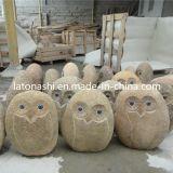 Estatua natural del buho de piedra natural del granito para el jardín / el paisaje al aire libre