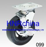 Schwarzer PU-industrieller Schwenker mit Verschluss-Fußrolle