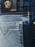Women Blue Cotton Fancy Wash Blend Bleached Pattern Slim Fit Jeans Denim (Pantalon ep 414)
