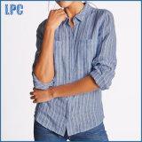Causal puro lino rayas camisa de manga larga